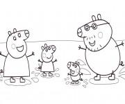 Coloriage Famille de Peppa Cochon dans L'eau