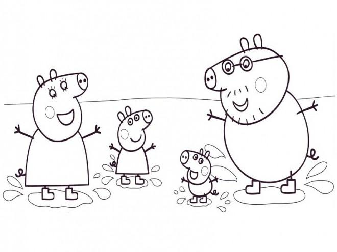 Coloriage et dessins gratuits Famille de Peppa Cochon dans L'eau à imprimer