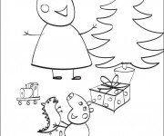 Coloriage et dessins gratuit L'anniversaire de Peppa Cochon à imprimer