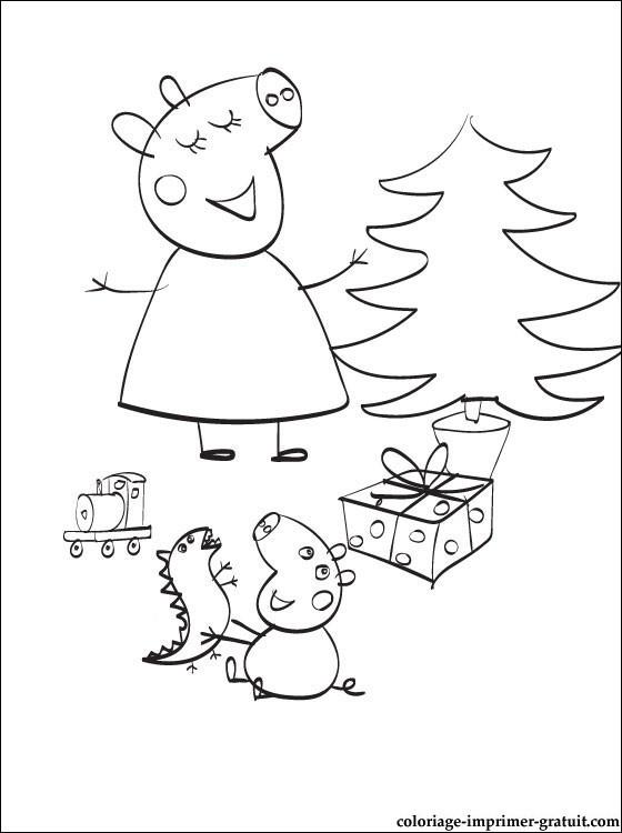 Coloriage et dessins gratuits L'anniversaire de Peppa Cochon à imprimer