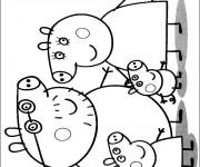 Coloriage La Famille de Peppa Cochon