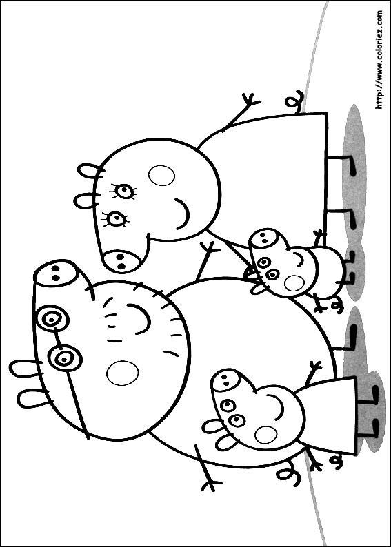 Coloriage et dessins gratuits La Famille de Peppa Cochon à imprimer
