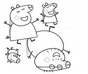 Coloriage La Famille Peppa Cochon amusée