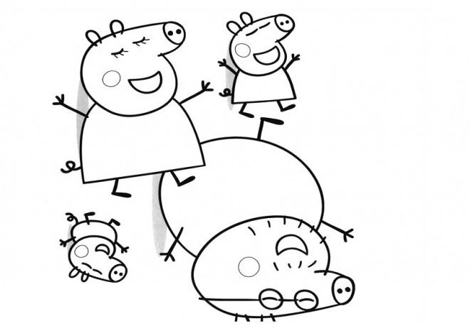 Coloriage et dessins gratuits La Famille Peppa Cochon amusée à imprimer