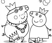 Coloriage La Famille Peppa Cochon Déguisement