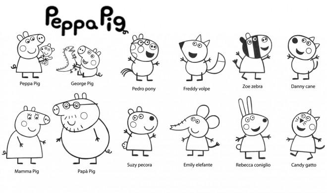 Coloriage et dessins gratuits Les Personnages de Peppa Pig à imprimer