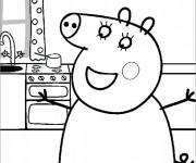 Coloriage Maman Cochon à La Maison