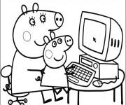 Coloriage et dessins gratuit Maman Cochon et Peppa à imprimer
