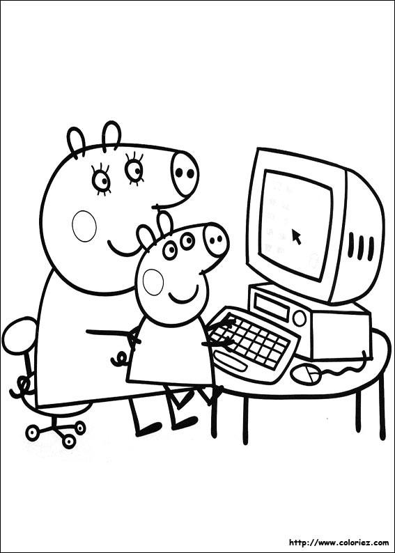 Coloriage et dessins gratuits Maman Cochon et Peppa à imprimer