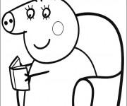 Coloriage et dessins gratuit Maman Pig souriante à imprimer