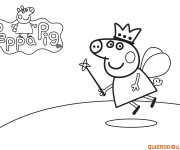 Coloriage Peppa Cochon Ange en Vol