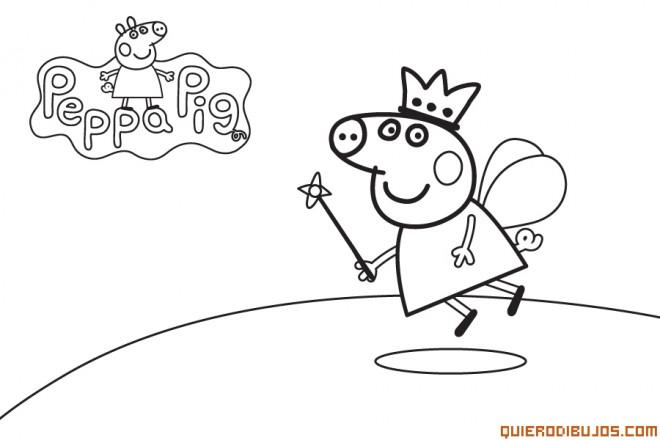 Coloriage et dessins gratuits Peppa Cochon Ange en Vol à imprimer