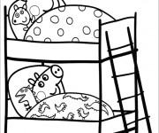 Coloriage et dessins gratuit Peppa Cochon au Lit à imprimer