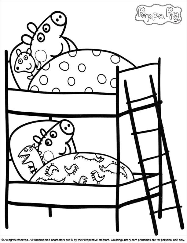 Coloriage et dessins gratuits Peppa Cochon au Lit à imprimer