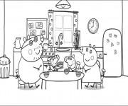 Coloriage Peppa Cochon dans La Cuisine