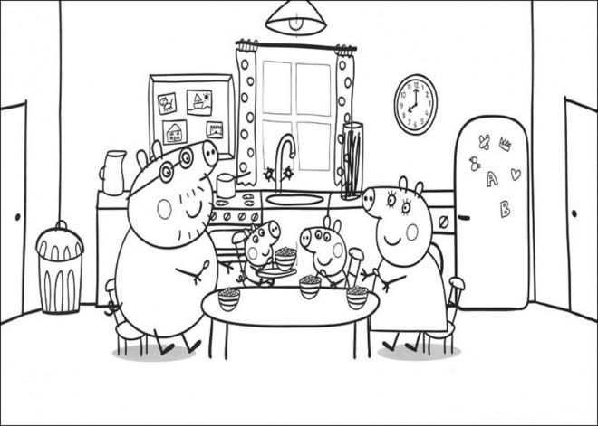 Coloriage et dessins gratuits Peppa Cochon dans La Cuisine à imprimer