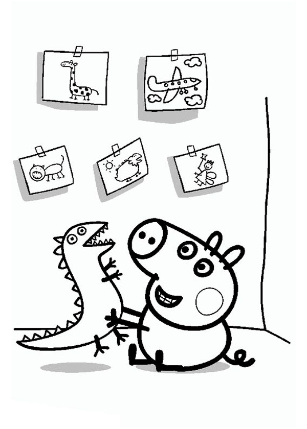 Coloriage et dessins gratuits Peppa Cochon dans sa Chambre à imprimer