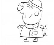 Coloriage et dessins gratuit Peppa Cochon en Hiver à imprimer