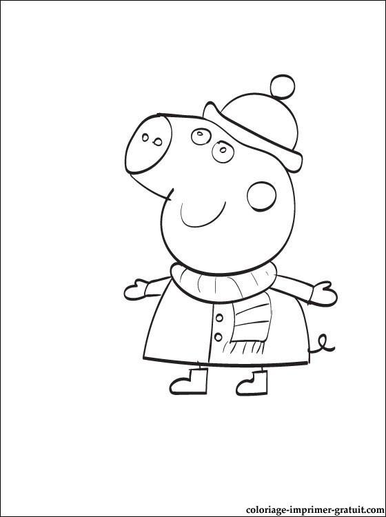 Coloriage Peppa Cochon en Hiver dessin gratuit à imprimer