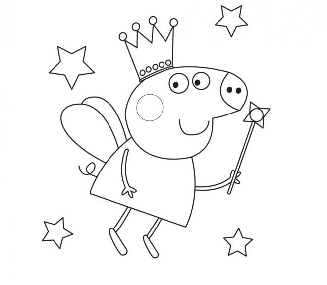 Coloriage et dessins gratuits Peppa Cochon en Mode Prince à imprimer