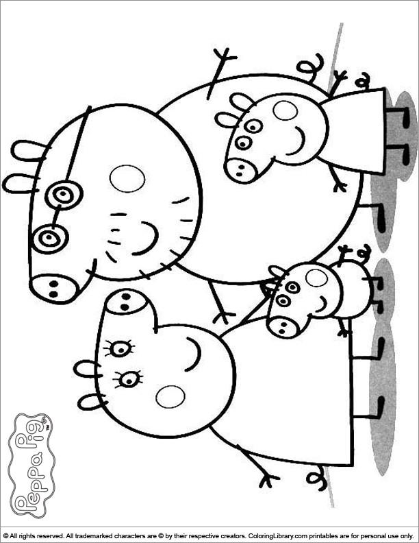 Coloriage et dessins gratuits Peppa Cochon en noir et blanc à imprimer
