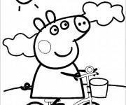 Coloriage et dessins gratuit Peppa Cochon en plein air à imprimer