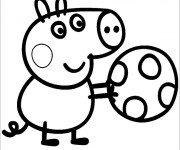 Coloriage Peppa Cochon et son Ballon couleur