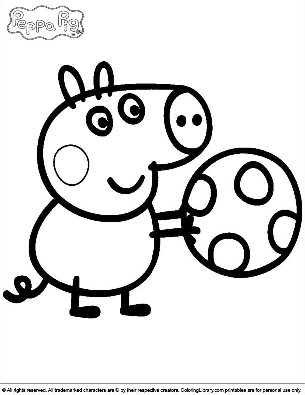 Coloriage et dessins gratuits Peppa Cochon et son Ballon couleur à imprimer