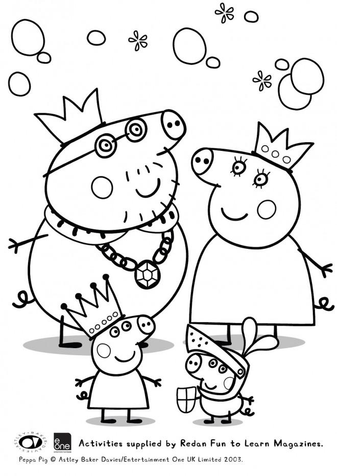 Coloriage Peppa Cochon Famille Royale Dessin Gratuit à Imprimer