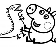 Coloriage et dessins gratuit Peppa Cochon port et sa Peluche à imprimer