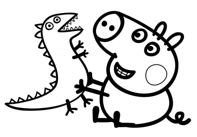 Coloriage et dessins gratuits Peppa Cochon port et sa Peluche à imprimer