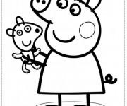 Coloriage et dessins gratuit Peppa Cochon porte son petit Chien à imprimer