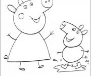 Coloriage Peppa Cochon s'amuse avec sa Mère
