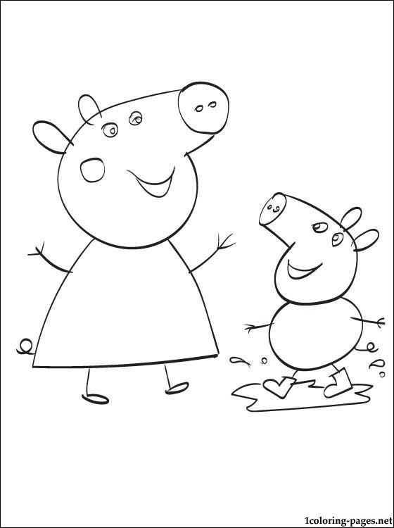 Coloriage et dessins gratuits Peppa Cochon s'amuse avec sa Mère à imprimer
