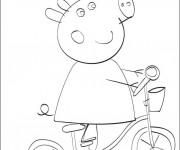 Coloriage Peppa Cochon s'amuse sur sa Bicyclette