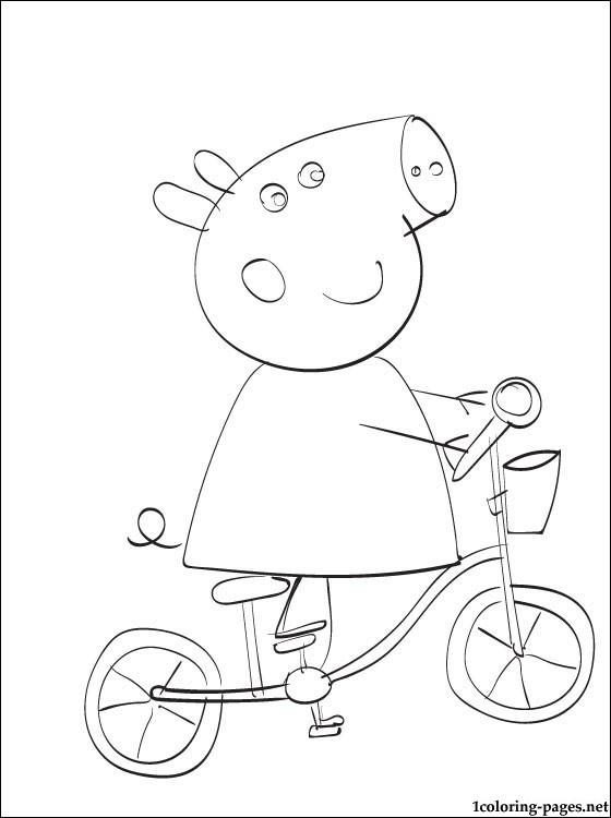 Coloriage et dessins gratuits Peppa Cochon s'amuse sur sa Bicyclette à imprimer