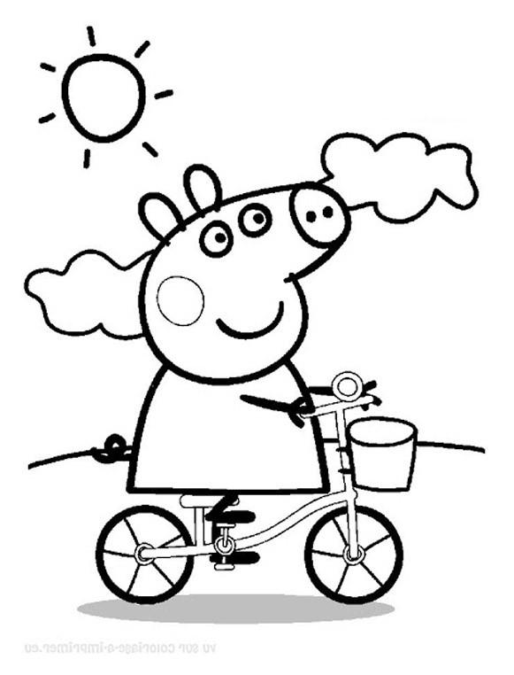 Coloriage et dessins gratuits Peppa Cochon sous Le Soleil à imprimer