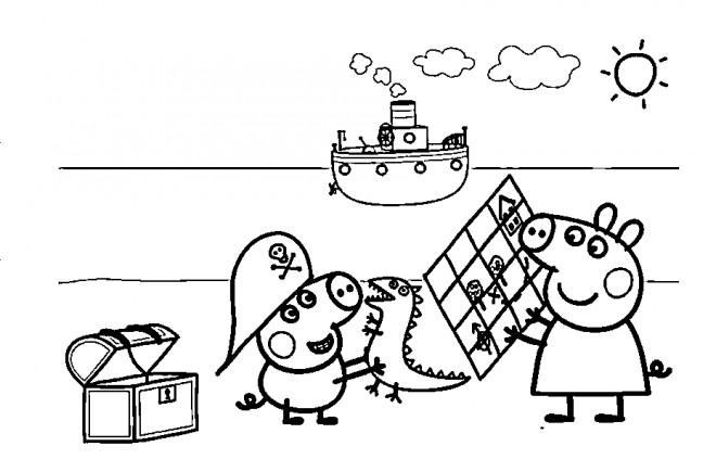 Coloriage De Cochon Pirate.Coloriage Peppa Cochon Sur La Plage Dessin Gratuit A Imprimer