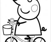 Coloriage et dessins gratuit Peppa Cochon sur sa bicyclette à imprimer