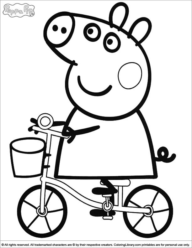 Coloriage et dessins gratuits Peppa Cochon sur sa bicyclette à imprimer
