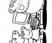 Coloriage Peppa Pig devant L'écran D'ordinateur