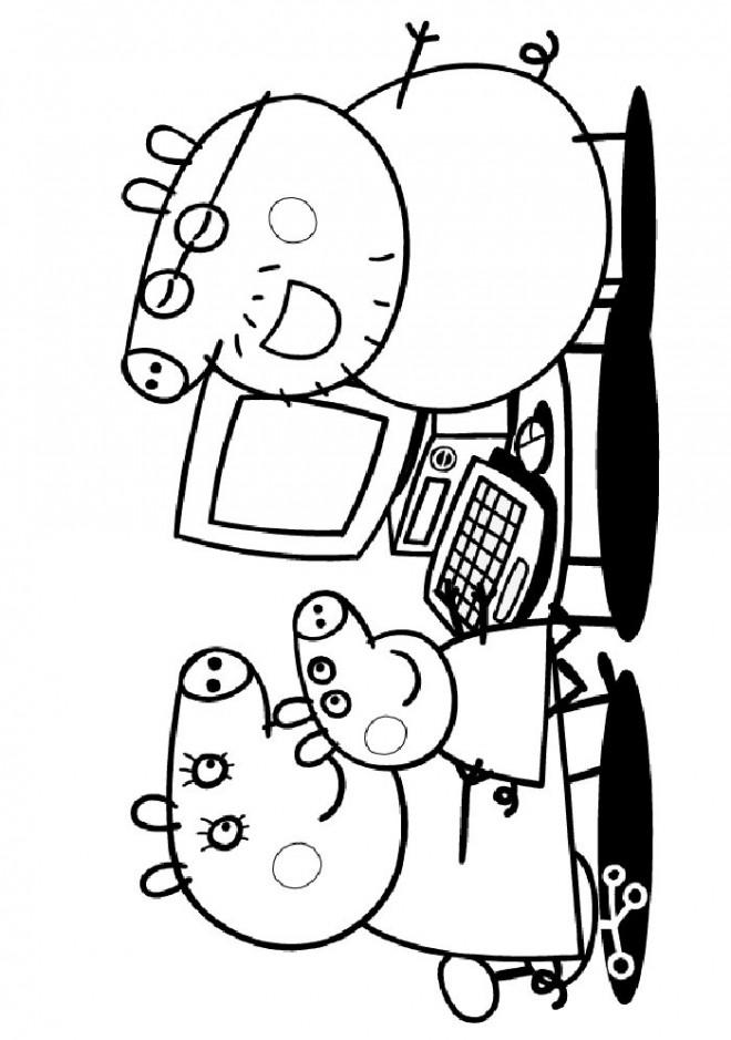 Coloriage et dessins gratuits Peppa Pig devant L'écran D'ordinateur à imprimer