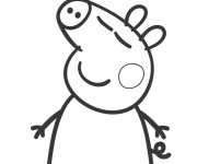 Coloriage Peppa Pig heureux