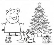Coloriage et dessins gratuit Peppa Pig Noel à imprimer