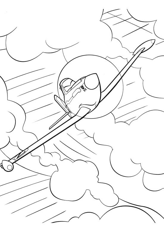 Coloriage et dessins gratuits Dusty  Planes sous Les Nuages à imprimer