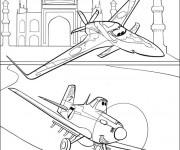 Coloriage Ishani et Dusty survolent le Taj Mahal