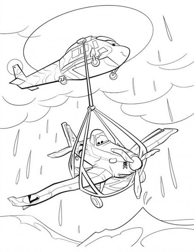 Coloriage et dessins gratuits Planes Dusty après son accident à imprimer