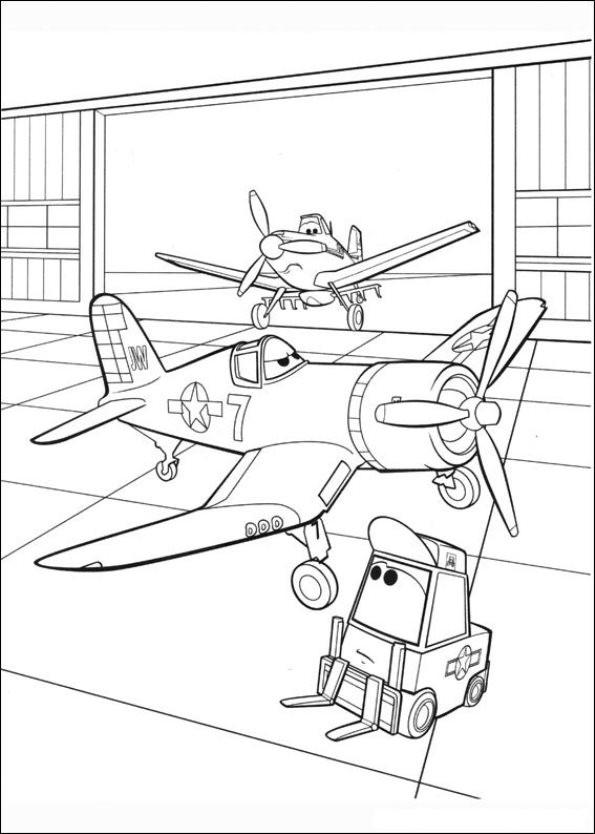 Coloriage Planes Dusty au Garage dessin gratuit à imprimer