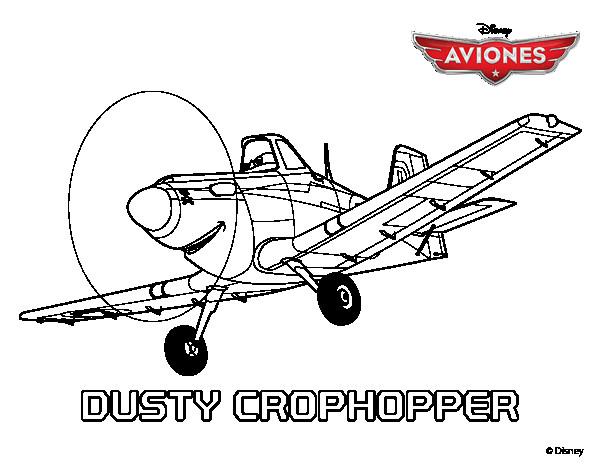 Coloriage et dessins gratuits Planes Dusty en noir et blanc à imprimer