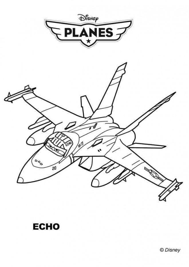 Coloriage et dessins gratuits Avion Chasse Bravo Pixar à imprimer